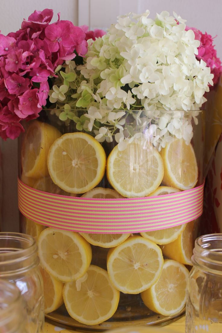 pink lemonade party centerpiece by The Event Shoppe www.facebook.com/TheEventShoppe