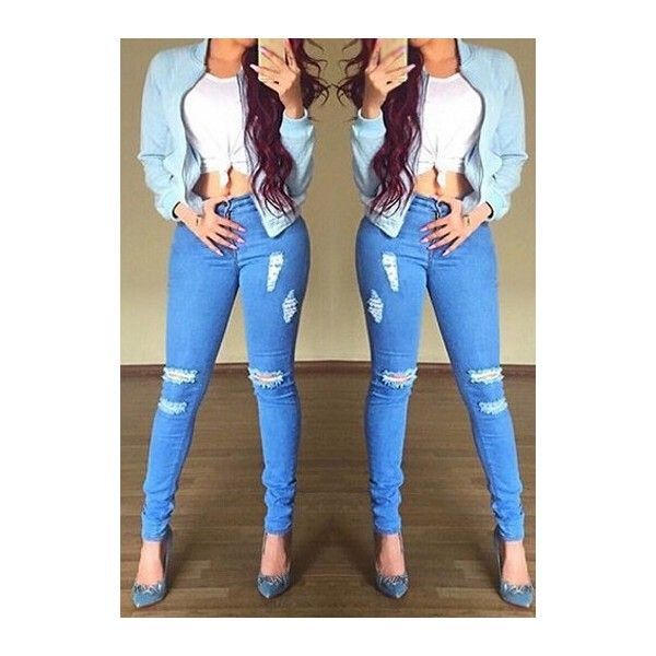 Rotita Zipper Fly Blue Ankle Length Pants ($23) ❤ liked on Polyvore featuring pants, blue, ankle zipper jeans, brown pants, denim pants, ankle zip jeans and blue skinny pants