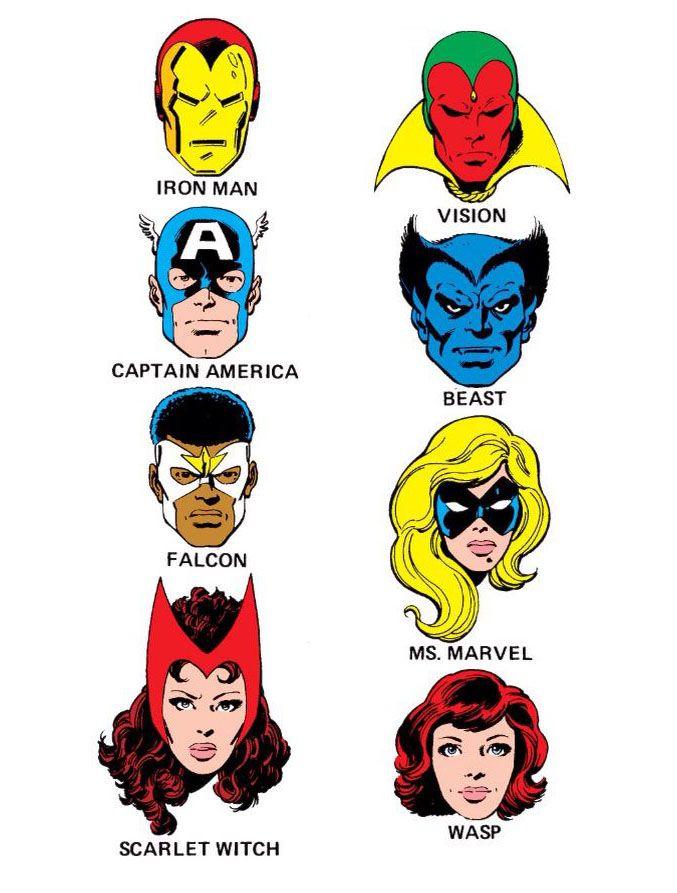 Marvel character faces - Vintage comics, Avengers pictures ...