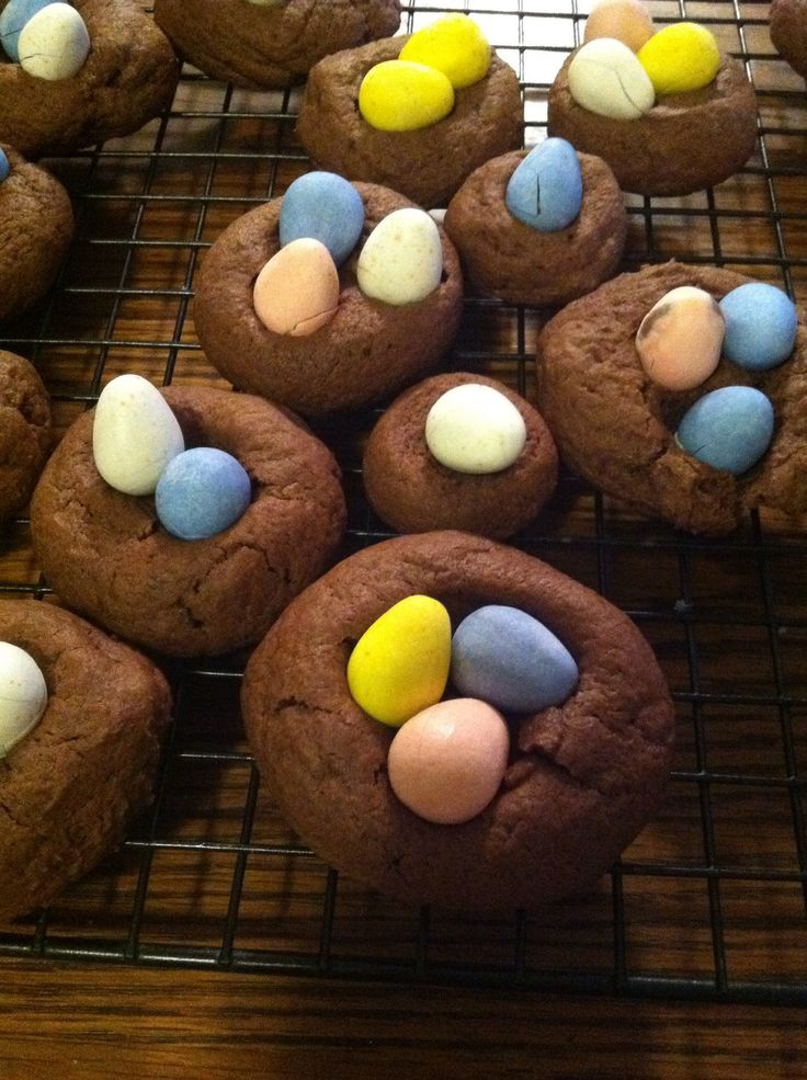Chocolate Easter Egg Nest Cookies