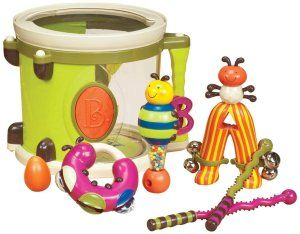 Parum Pum Pum Drum This drum set comes with drumsticks, jingle bells, a maraca with clacker, tambourine and two egg shakers. http://awsomegadgetsandtoysforgirlsandboys.com/cool-toys-toddlers/
