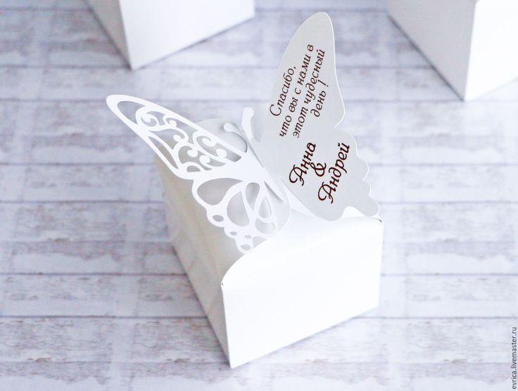 "Купить ""Бабочки ажурные"" бонбоньерка - белый, бонбоньерка, бонбоньерки на свадьбу, бонбоньерки для свадьбы, свадьба, коробочка"