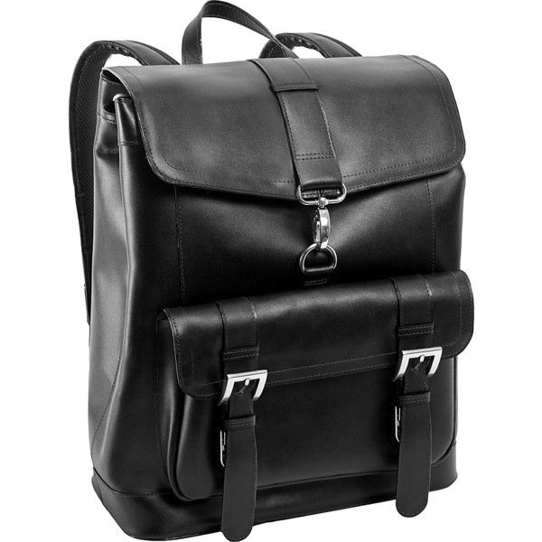 McKlein Hagen Leather Laptop Backpack - Black - Laptop Backpacks (4.160 RUB) ❤ liked on Polyvore featuring bags, backpacks, black, drawstring flap backpack, leather laptop backpack, leather rucksack, leather laptop bag and real leather backpack