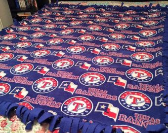 Starts at $38 - Texas Rangers blanket with royal blue backing,Texas Rangers, Team Blanket, Texas Flag, No Sew Blanket, MLB Team Fleece Tie Blanket, Sports Fan, Fathers Day Gift, Gift for him, Fan Gift