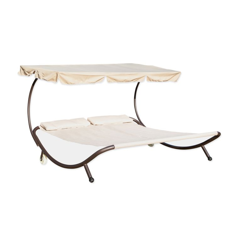 The double hammock with canopy by Trademark Innovations is perfect for taking an afternoon nap, laying by the pool or simply rock away your worries. The double sized hammock bed features a durable cream polyester fabric and a sturdy steel tubing frame.
