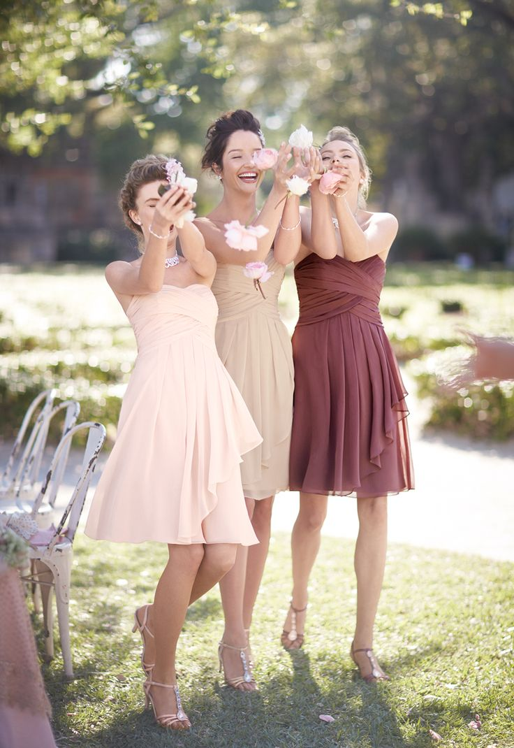 Outfit your 'maids in cosmetic inspired hues like Rosewood, Petal, and Champagne, and create an effortlessly mixed and matched look. Image features #bridesmaid dress Style F14847,