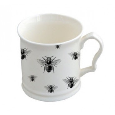 Napoleon Mug with Repeated Bees - This charming mug is adorned with the imperial bee emblem of our new Napoleon range.    Our bone china mugs are hand decorated in England.    The elegant and practical tankard is 9cm high.