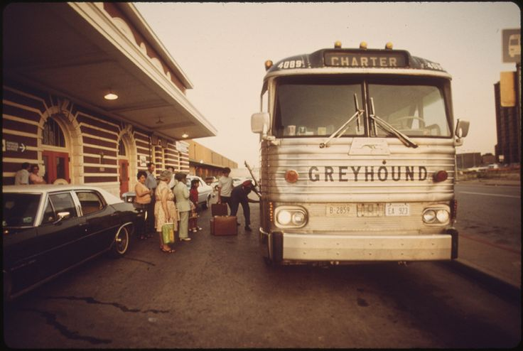 Train passengers bound for St. Louis, Missouri, board a chartered bus in Fort Worth, Texas, June 1974 | Flickr - Photo Sharing!