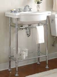 17 best images about small bathroom metal vanities on for Pedestal sink with metal legs