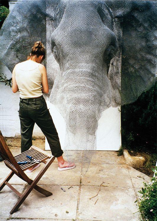 Kendra Haste working on a elephant wire sculptures         #artist #artistatwork #studio