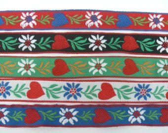 tyrolean floral ribbon   Woven Ribbon Edelweiss Hearts L Trim 20 mm Cotton Dirndl ...