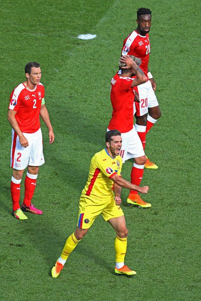 Alexandru Chipciu of Romania reacts to the referee decision during the UEFA EURO 2016 Group A match between Romania and Switzerland at Parc des Princes on June 15, 2016 in Paris, France.