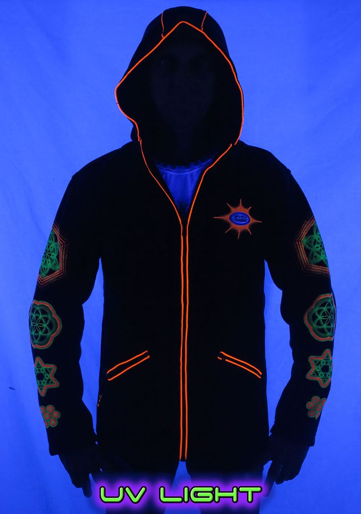 Morph Jacket (Round Hood) : Sacred Fire Versatile zip-up fleece jacket. Sacred Fire print on the back & sleeves. Reflective logo badge and UV print on the chest UV piping. 2 Outside zip pockets & 2 inside zip pockets. There is a hidden zip built into the collar, which allows you to attatch either the round hood or pixie hood. (available as optional extras) Secret stash pocket label ! Made from our super juicy durable fleece (Cotton/poly mix) Artwork by Hakan Hisim
