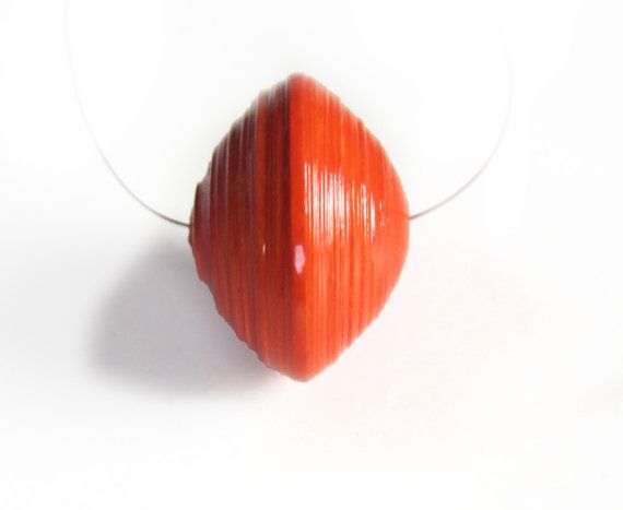 Orange saucer paper bead  focal bead by PatchesAndBeads on Etsy