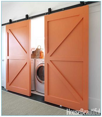 Our laundry room is massive - so big that it also serves as a workout room, guest bedroom and office, with room to spare. We've been looking for the perfect way to close off the laundry area of the room when company comes... I think we just found it! :-)