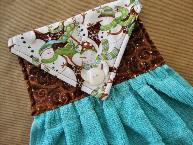 Snowmen Quilted Hanging Kitchen Towel Hanging by TheTamedTowel, $14.50