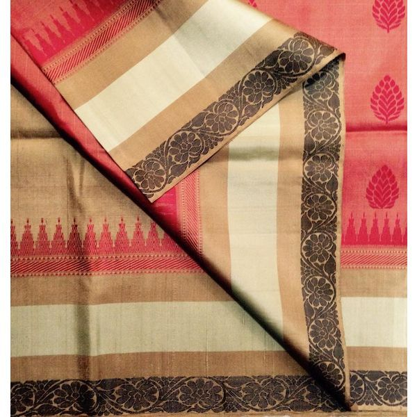 Buy KSS6000002-THAMBOORI's Handwoven Soft Kanchivaram Silk-Rust with beige, 800g online - Handwoven Kanchivarams,Soft Silks, Silk Cottons and Tussars!
