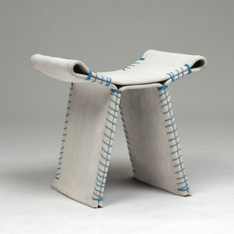 Stitching Concrete by Florian Schmid. Stools made with fabric and PVC stuffed with concrete, soaked in water, stitched together, and left on a mold to dry. Fireproof, waterproof, and strong as hell.