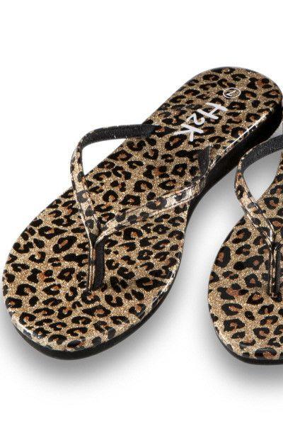 Shiny Leopard Flip Flops