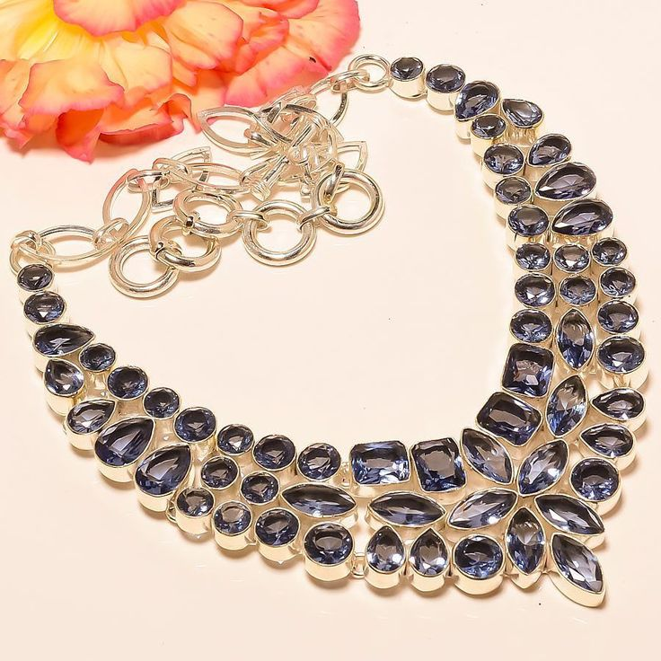 """Iolite 925 Sterling Silver Jewelry Necklace 18"""" #Handmade #Choker"""