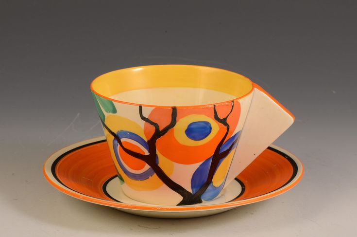 Andrew Muir   Clarice Cliff, Art Deco Pottery, Moorcroft and 20th Century Ceramics DealerClarice cliff CIRCLE TREE CONICAL CUP & SAUCER C.1930