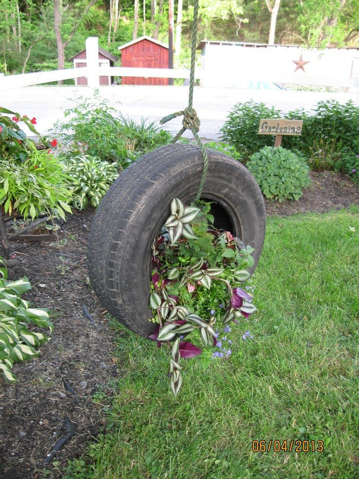 old tire turned into planter