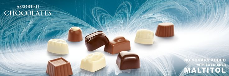 Chocolates with sweetener Maltitol. Cavalier the pioneer in no sugars added chocolate.