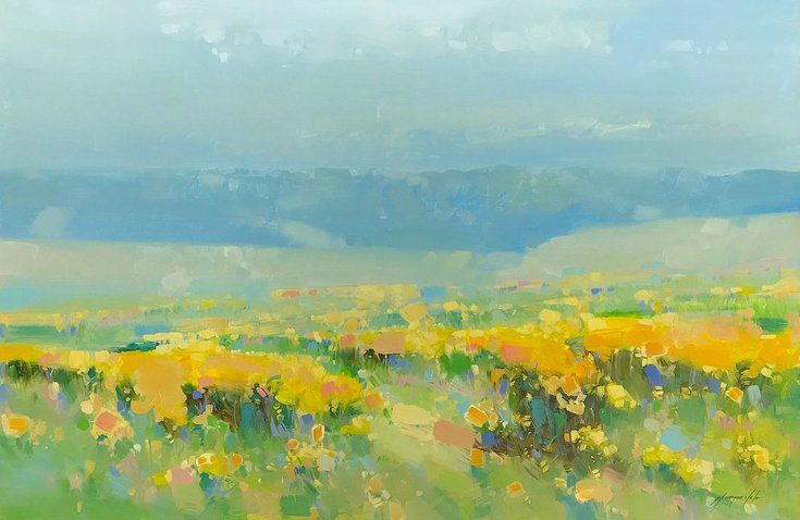 Yellow Valley Landscape Oil Painting Handmade Artwork Large Size Oil Painting Landscape Original Landscape Painting Oil Painting