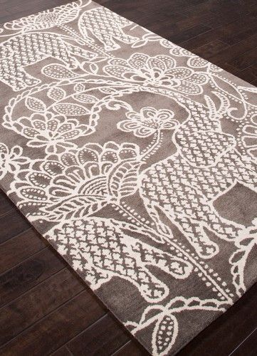 Raja Designer Elephant Rug Gray Plush Wool