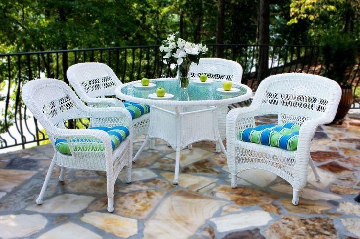 5 Piece White Wicker Outdoor Dining Set | Tortuga Outdoor Dealer   #TortugaOutdoor
