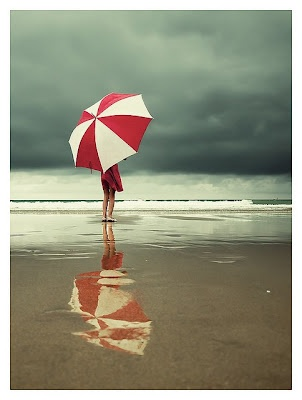 ocean: Maya Angelou, At The Beaches, Rainy Day, Color, Atthebeach, The Ocean, Red Umbrellas, Photo, The Sea
