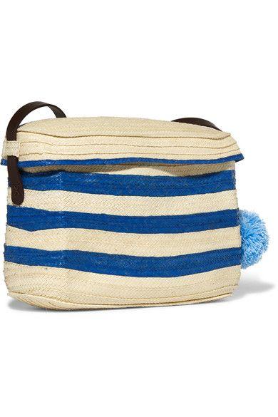 Sophie Anderson - Ana Pompom-embellished Leather-trimmed Woven Raffia Shoulder Bag - Blue - one size