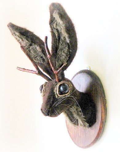 Jackalope Faux Taxidermy Brown Hare Rabbit Wall by wondrousplace