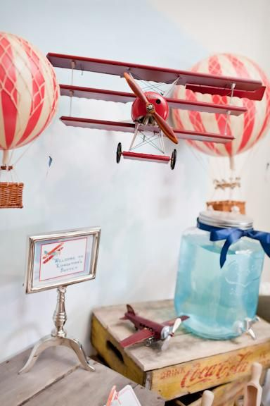 The Places you will go, A Vintage Airplane and Hot Air Ballon Themed Christening by The Little Big Company