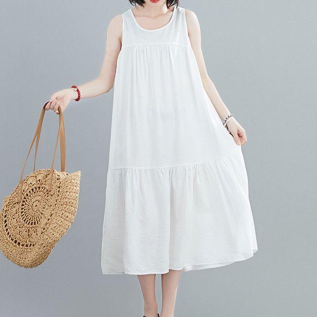 膝下ワンピース ドレス シンプル 韓国風 袖なし ゆったり 体型カバー ホワイト ブルー ブラック フリー 2 448 ドレス シンプル ワンピース ドレス ドレス