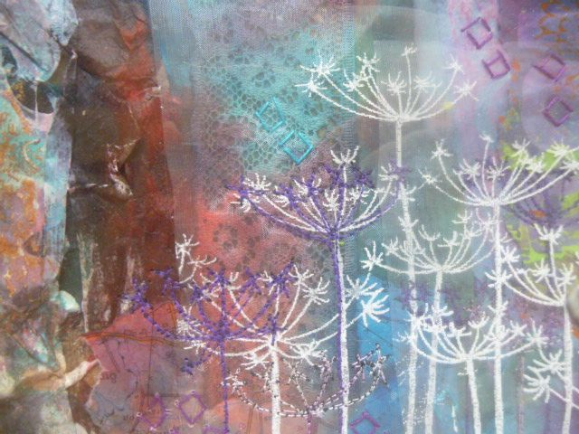close up of piece-  papers painted, printed and collaged, thermofax screen printing and machine stitching