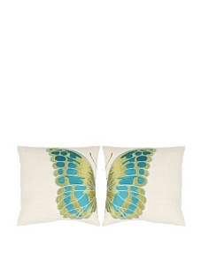 """Safavieh Set 2 Inra Blue-Wing 18"""" Embroidered Pillows"""