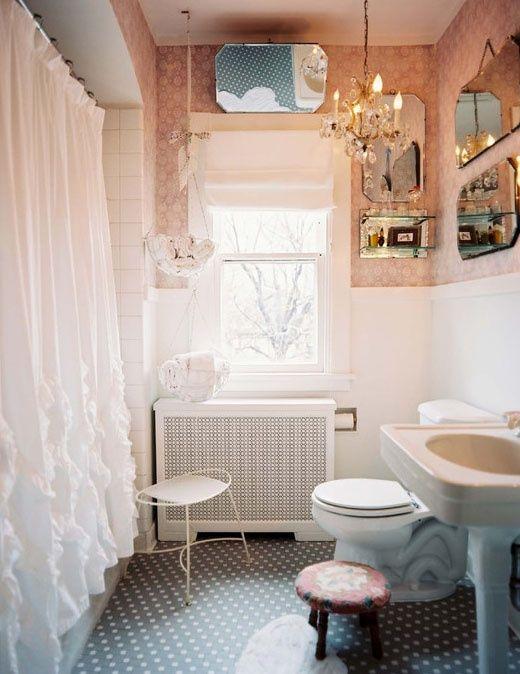 (via Pink/Shabby Chic apartment…heck yes!!!! / girlies bath)
