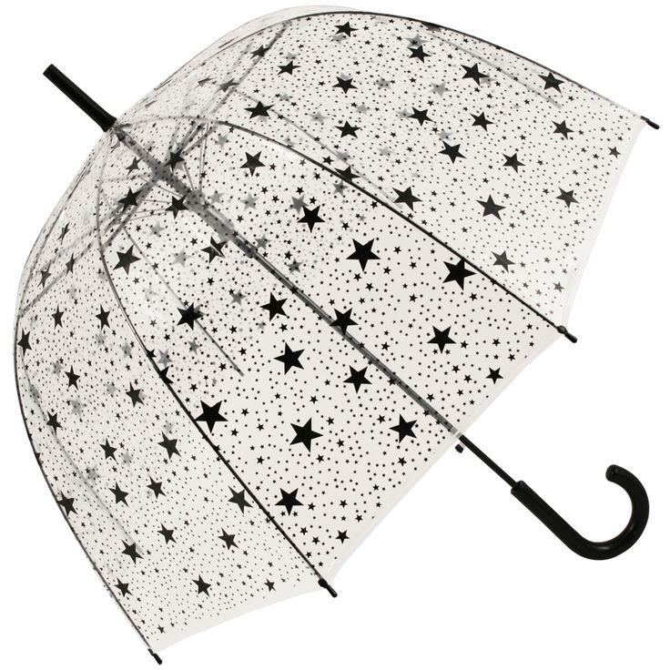 Black Stars Clear See-through Dome Umbrella