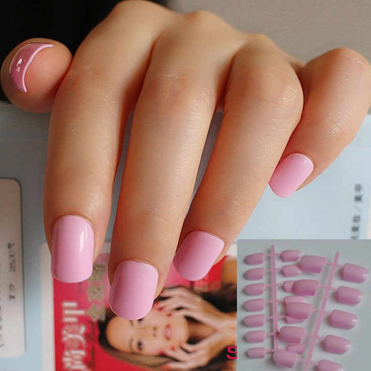 24 pieces of candy Manicure finished lovely color false nails short paragraph shiny surface princess pink 008