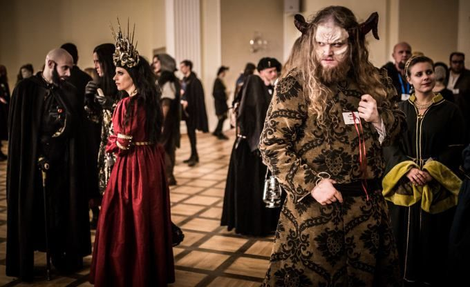 While some political meetings occurred, the majority of social play transpired in the ballroom.   Dziobak Larp Studios live action role play experience about vampires. https://www.cotlarp.com/