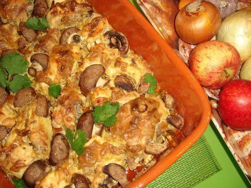 Frango Gratinado com Natas e Cogumelos