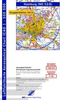 1850 53/6 #ICAO-Karte #Hamburg 2014 mit Folie #Luftfahrtkarte