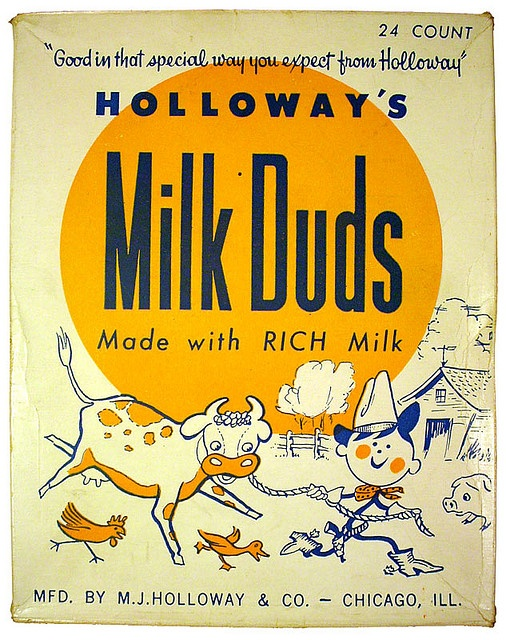 Great vintage package design found on a Milk Duds box.