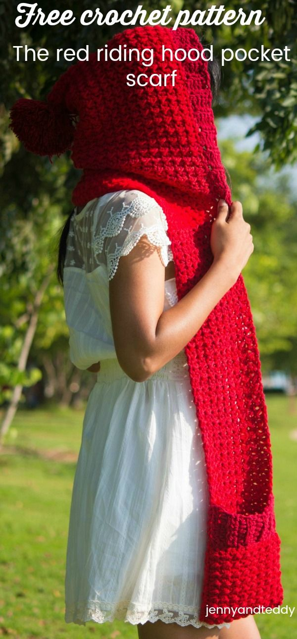 free easy crochet pattern for Halloween the little red riding hood pocket scarf  beginner friendly by jennyandteddy. follow along step by step photo tutorial.