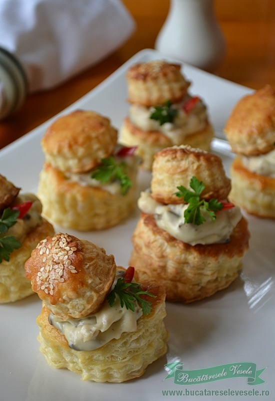 "Today we present a special appetizer named ""vol-au-vent"", originally from France. This recipe is written in Rumanian but it seems to be easy by just looking up the pictures. Once you open the link, right on top you may find many available languages for instant translation and you will now see the chicken & mushrooms volovan recipe"