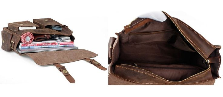 Vintage Handmade Crazy Horse Leather Briefcase / Messenger Satchel 13″ MacBook 13″ Laptop Bag (n23)