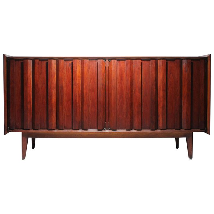 Lane Sideboard Cabinet Brutalist Period in style of Milo Baughman | From a unique collection of antique and modern credenzas at https://www.1stdibs.com/furniture/storage-case-pieces/credenzas/