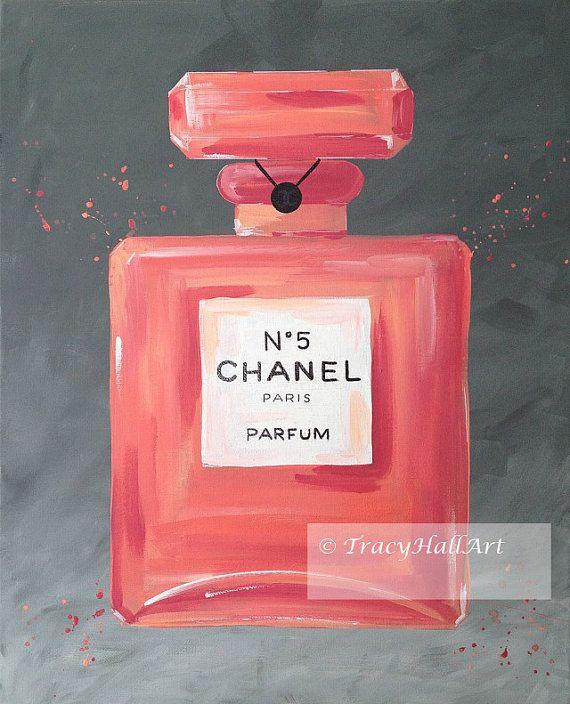 "Chanel Art Perfume Painting Chanel No. 5 Coral Gray Iconic Fashion Art Canvas 16"" x 20"""
