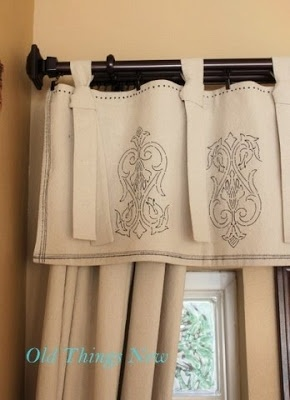 DIY Stenciled Drop Cloth Curtains! Make all your custom curtains out of cheap painters drop cloth.. 15.00 for a 12x15 at Harbor Freight